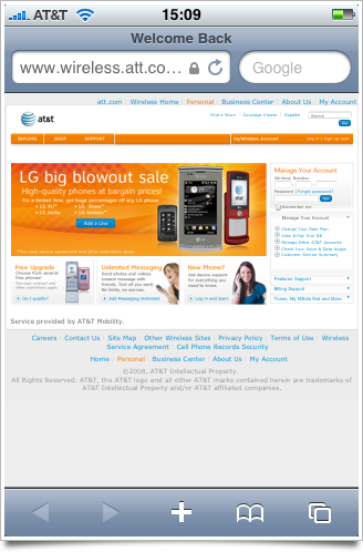 AT&T wireless home page