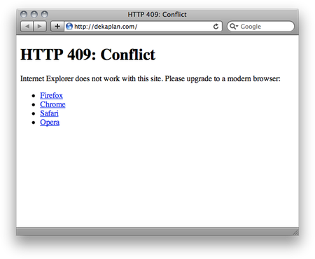 Example of an HTTP 409 error page