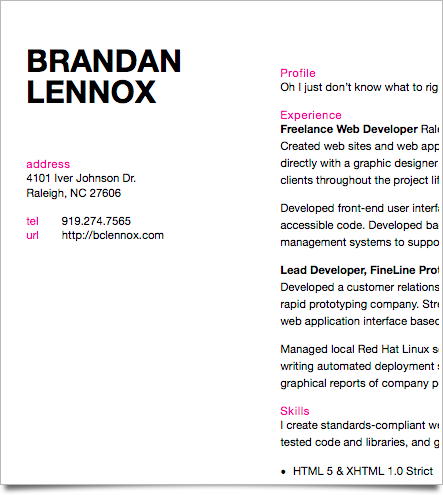 My résumé in the San Francisco template